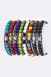 Mix Bead Drawstring Bracelets Set
