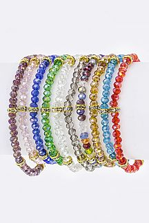 Bead & Crystal Hoop Stretch Bracelets Set