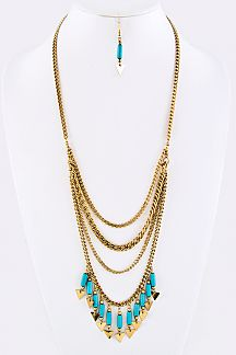 Fringed Bead & Arrow Layer Necklace Set