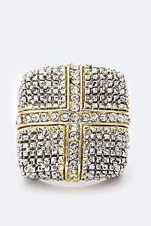 Crystal Cross 2 Tone Ring