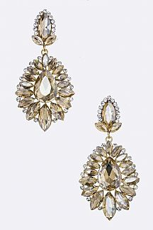 Mix Crystal Flower Statement Earrings