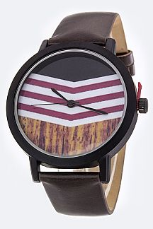 Chevron Mod Dial Fashion Watch