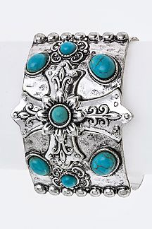 Cross & Turquoise Ornate Metal Cuff