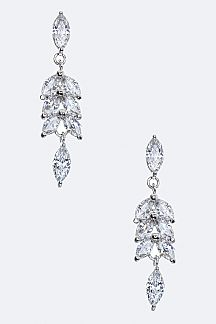 Marquise CZ Leaf Earrings