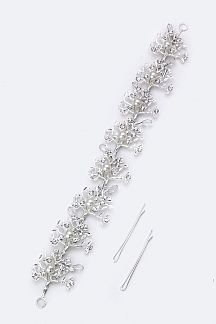 Crystal & Pearl Trees Hair Clip With Bobby Pins