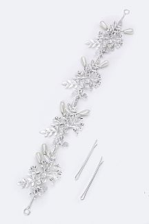 Crystal & Pearl Leaf Hair Clip with Bobby Pins