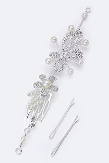 Crystal & Pearl Flower Hair Clip with Bobby Pins