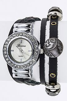 Multi Strap Fashion Leather Bracelet Watch