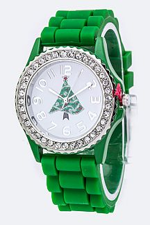 X'mas Tree Crystal Bezel Watch