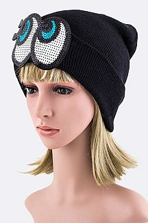 Sequins Eyes Beanie Hat