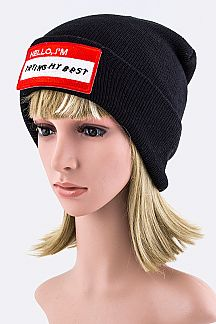 Name Tag Embroidery Beanie