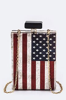 Vintage American Flag Box Clutch