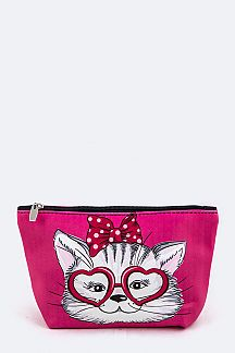 Heart Glasses Kitty Pouch