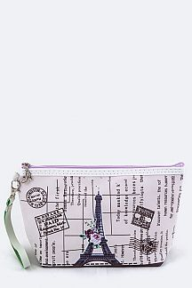 Paris Theme Wristlet Pouch