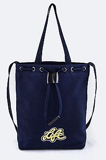 Life Embroidered Patch College Tote