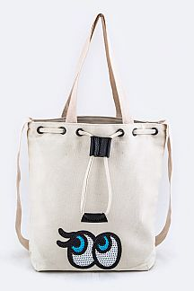 Sequins Eyes Patch Double Straps Tote
