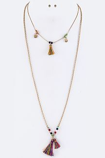 Beads & Tassels Layer Necklace Set
