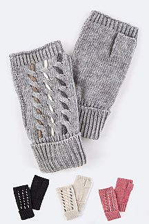 3 Tone Contrast Stitches Fingerless Gloves