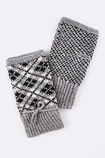 Argyle Pattern Fingerless Gloves