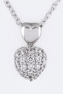 Petite CZ Heart Pendant Necklace