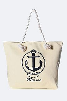 Anchor Logo Fashion Canvas Tote