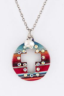 Tribal Print Cutout Cross Disk Pendant Necklace Set
