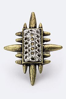 2 Tone Metal Spiky Ring
