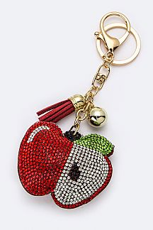 Crystal Apple Key Charm
