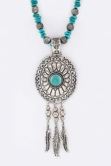 Turquoise Concho & Fringe Feathers Necklace Set