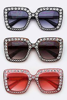 Pave Crystal Fashion Square Sunglasses