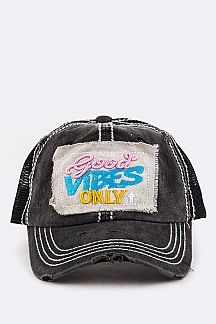 Good Vibes Only Embroidery Cotton Cap