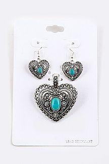 Ornate Heart Pendant & Earrings Set