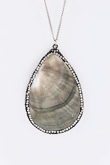 Crystal & Shell Teardrop Pendant Necklace