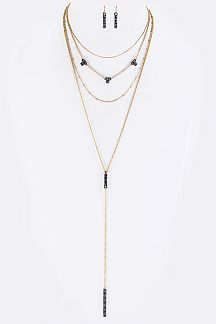 Pave Crystals Bar Drop Layer Necklace Set
