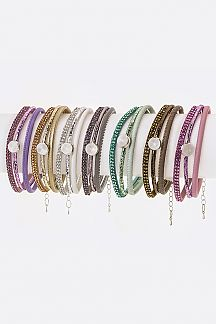 Crystal Slider Layer Bracelets Set