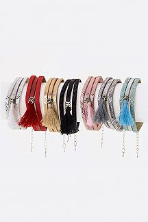 Tassel & Embossed Layer Bracelets Set