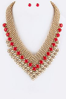 Chain & Crystal Layer V Necklace Set
