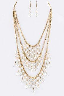 Fringe Pearls Layer Necklace Set