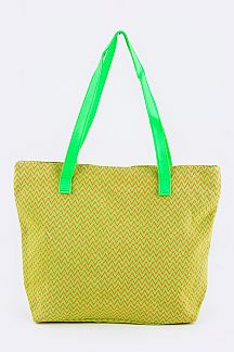 Neon Color Chevron Canvas Tote