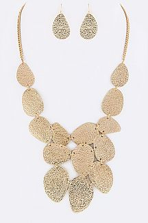 Textured Metal Disks Statement Necklace Set