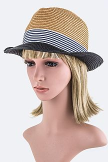 Stripes & Colored Brim Straw Fedora