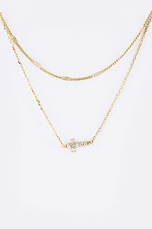 CZ Cross Layered Necklace