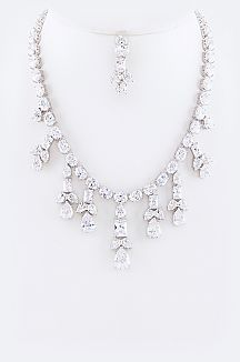 Cubic Zirconia Mix Drop Statement Necklace Set