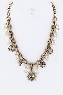 Sailor Charms & Pearls Statement Necklace Set