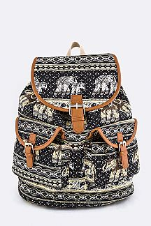 Tribal Elephant Print Canvas Backpack