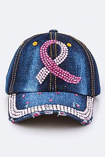 Crystal Pink Ribbon Embelished Fashion Denim Cap