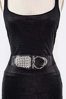 Crystal & Metal Hooked Stretch Belt