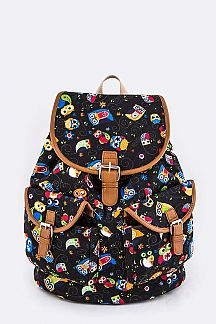 Comic Owl Print Canvas Backpack