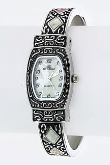 Textured Open Bangle Watch