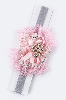 Kids Size Lace Flower Bow Stretch Headband